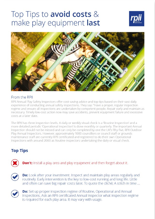 Image preview of Top Tips to avoid costs & make play equipment last